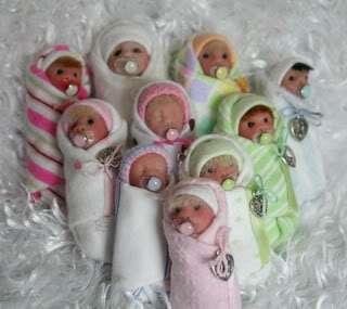 Mini Baby bundle polymer clay sculpt doll ~ Tiny Pixie Baby Bundle