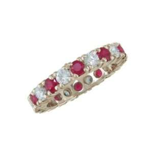 Elizsa 14K Gold Ruby and Diamond Eternity Ring Jewelry