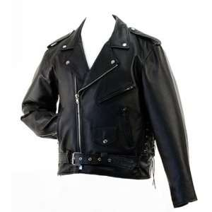 LARGE Mens Classic Leather Motorcycle Jacket   Hawg Hides: Automotive