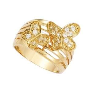 Plated Clear Cubic Zirconia 2 Butterflies Band Ring   Size 8 Jewelry