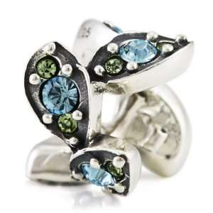 Ohm March Crystal Leaf European Bead: Arts, Crafts & Sewing