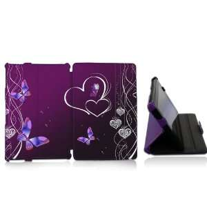 Kindle Fire Butterfly Heart Design Lightweight Leather Protective Case