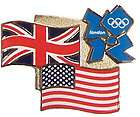 Official London 2012 Summer Olympics USA & United Kingdom Flags Pin