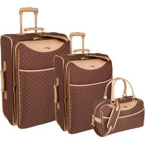 PIERRE CARDIN SIGNATURE BROWN 3 PIECE LUGGAGE SET $660 NEW IN BOX
