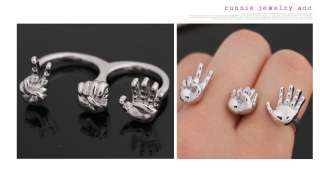 Crystal Vintage St. Skull Two Finger Double Ring AU Size O US 7