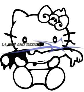 Say Hello to Zombie Kitty Car Window Laptop Sticker Decal Any Color