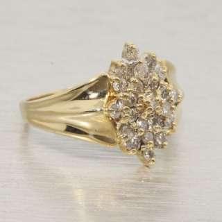 Fine Estate .50ct Diamond 14k Yellow Gold Cluster Ring