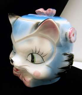Vintage Pottery Cookie Biscuit Jar Super Cute Kitty Cat