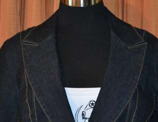 95ff65c480cb7 ... BISOU BISOU BLACK COTTON BLEND DARK DENIM JACKET COAT WOMENS LADIES ...