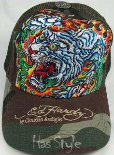 Ed Hardy Flaming Tiger Camo Trucker Cap Audigier NWT