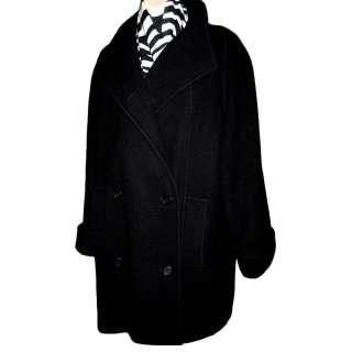 80s Women Black Winter Wool Chic Wide Collar Long Pea Coat M 10