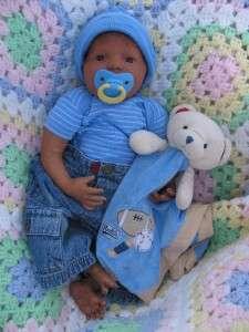 lifelike Ethnic Biracial African baby boy black human hair OOAK