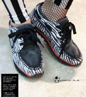 Bloodycat Zebra Animal Print Black White Punk Sneakers Emo Shoes