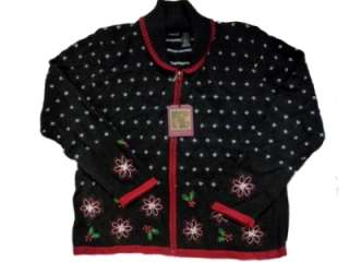 Womens Black & Red Holiday Sweater Beaded Poinsettia Christmas