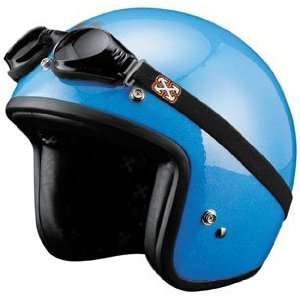 SparX Old School Bobber Open Face Pearl Motorcycle Helmet Sparkle Blue
