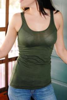 BOBI Basic ECO Olive Green Tank Top T shirt Cotton Tee