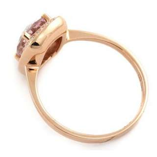 FINE PINK AMETHYST DIAMOND 14K ROSE GOLD COCKTAIL ENGAGEMENT RING