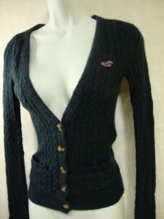 HOLLISTER Navy Blue Cable Knit Sweater Cardigan Small S