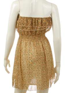 GORGEOUS FLORAL BANDEAU DRESS + BELT APRICOT XS/S