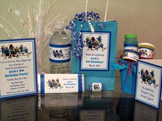 Smurfs Birthday Party PDF CD w/ Invitation Favor Water Candy Bubble