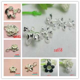ASSORTED 925 Sterling Silver flower charms Pendant BEADS FIT BRACELET