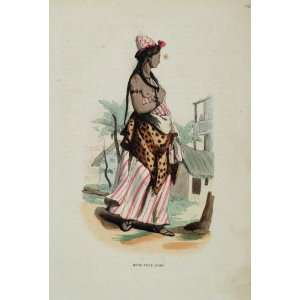 1845 Print Costume Folk Dress Arab Woman Girl Risque