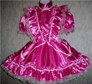 Adult Sissy, Square Dance, Unisex, Lockable, Fuchsia Satin Dress
