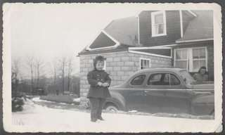 Photo Girl Rubber Snow Boots 1940 Plymouth Car 519511