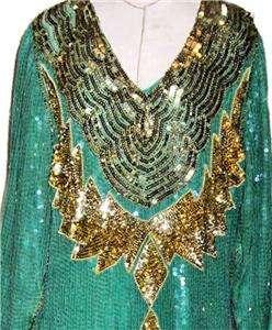 Razzle Dazzle Vintage 70s 80s Flapper Chemise Style Dress Green Gold