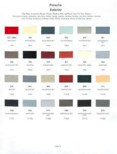1983 PORSCHE PAINT COLOR SAMPLE CHIPS CARD OEM COLORS