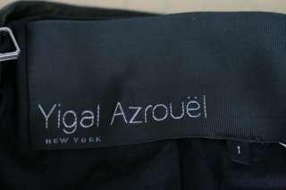 YIGAL AZROUEL Black Leather Zipper Motorcycle Jacket 1