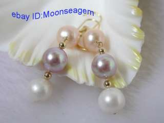 High style 10mm white pink lavender FW pearls earrings