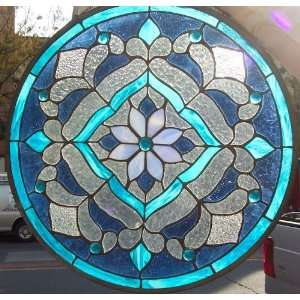 Celtic windmill round stained glass window for 18x18 window