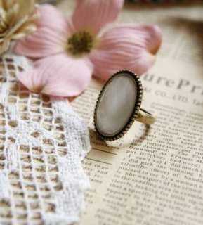 Vintage Gold Alloy Big Oval Pink White Simulated Stone Adjustable Ring