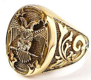 DOUBLE HEADED EAGLE EMPIRE GOLD BRASS RING Sz 9 BYZANTINE ROMAN RUSSIA