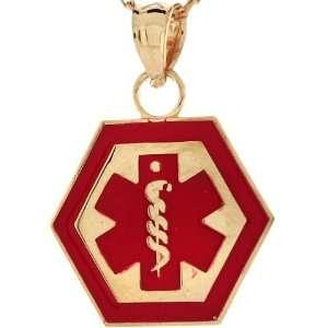14k Real Gold Medical Alert Red Enamel 1.6cm Charm Pendant