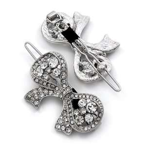 Clear Crystal Metal Snap Ribbon Shaped Hair Barrette Clips Jewelry