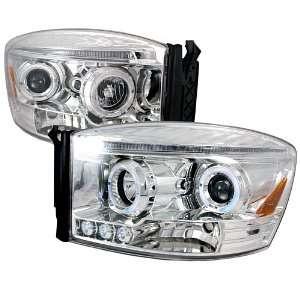 DODGE RAM HALO LED CHROME CLEAR PROJECTOR HEAD LIGHTS