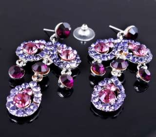 25681 Purple Leaves Rhinestone Crystal Bridal Necklace Chandelier