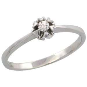 14k White Gold Flower Solitaire Diamond Ring w/ 0.06 Carat