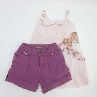 LOT 2 DIESEL IKKS Girls Purple Shorts Pink Dress Sz 6M