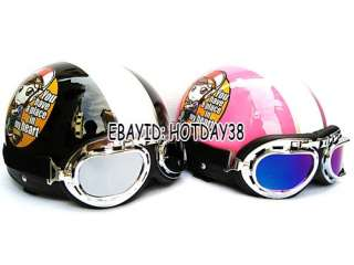 Motorcycle Cycling Half Helmet Harley Style FREE Goggles For Woman
