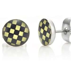 Racing Style Stainless Steel Stud Earrings for Men (Black Yellow