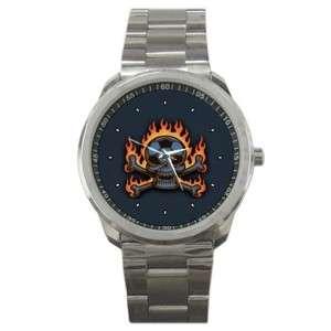 Skull on Fire Cross Bones Sports Metal Wrist Watch New Mens 31338281