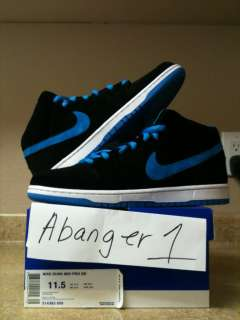nike sb dunk mid black/ orion blue sz 11.5 brick house dragon