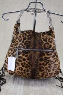 Christian Louboutin Marianana Leopard Calf Hair Chain Strap Hobo bag