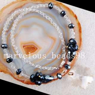 Black Crystal Quartz Necklace Bracelet Earrings G3716