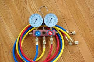 Come with 3 Color Coded High Pressure Hoses with built in low loss