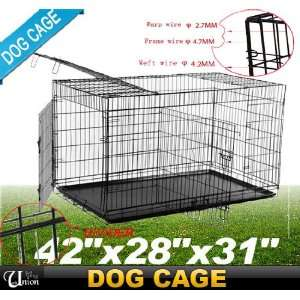 New 42 Folding Pet Dog Cage Crate 3 Door Portable With