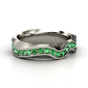 Wave Band, 14K White Gold Ring with Emerald Jewelry